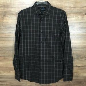 Murano Mens Plaid Long Sleeve Dress Shirt  Black